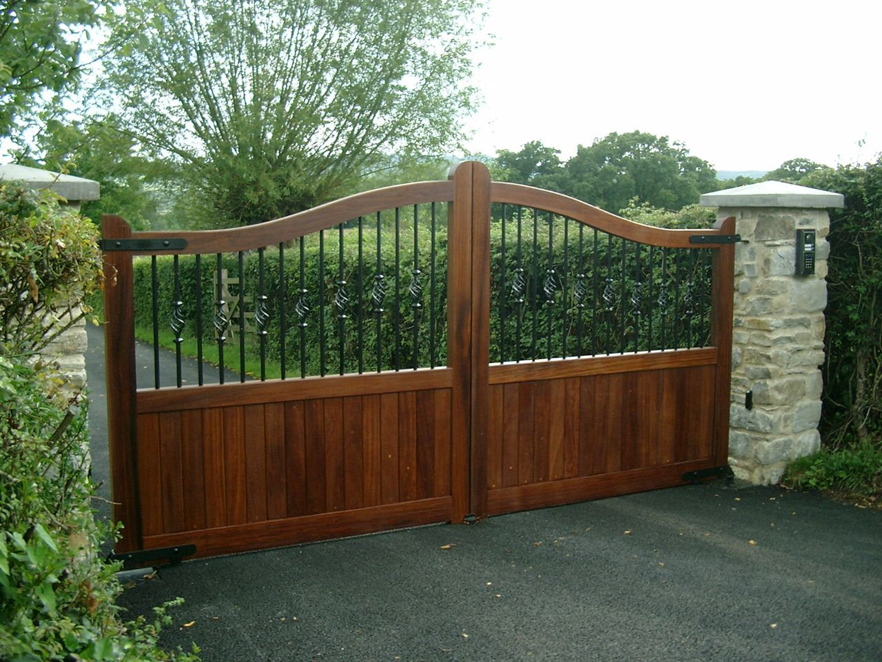 wooden gates and wrought iron.